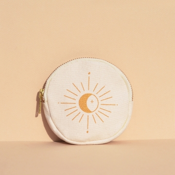 porte-monnaie rond motif Lune